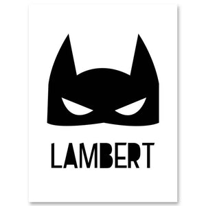 Batman Mask Nursery Wall Art Canvas Print Custom Poster Cartoon Elephant Balloon Nordic Painting Picture Kids Bedroom Decoration