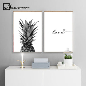 NICOLESHENTING Pineapple Wall Art Canvas Posters Prints Nordic Love Quote Paintings Black White Wall Picture for Living Room