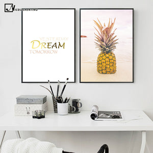 Pineapple Quote Motivational Nordic Poster Prints Minimalist Wall Art Canvas Painting Modern Picture Home Decor Room Decoration
