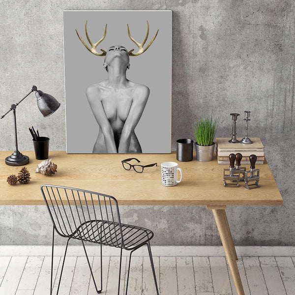 Modern Simple Fashion Sexy Golden Deer Canvas Painting Art Printing Poster Pictures Wall Bedroom Living Room Home Decoration