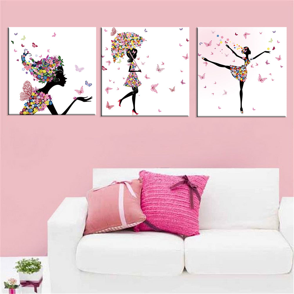Painting Butterfly Modular Picture Modern Cuadros 3 Panel Dancing Girl Oil Decoration Canvas Art Framework Wall For Living Room