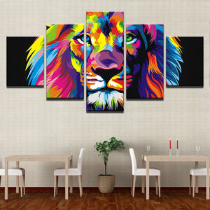 Modular Pictures Canvas Cuadros Home Decoration 5 Panels Colorful Lion Modern Framework For Paintings Artwork Wall Printed