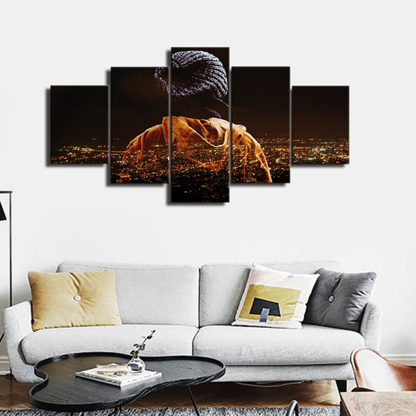 Canvas Wall Art Cityscape Wall Art Chicago Night Light Home Decor Paintings for Living Room Office Wall Decor Gift Drop Shipping