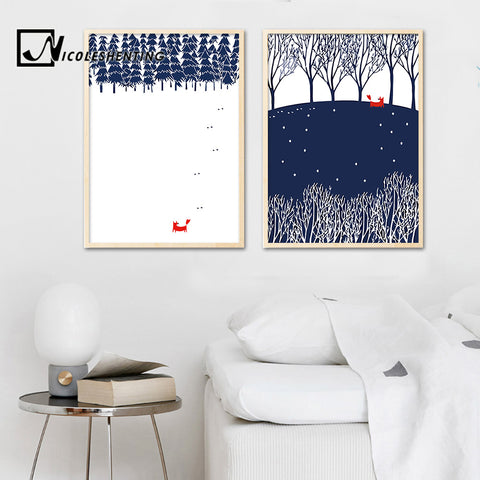 Red Fox Forest Abstract Posters and Prints Minimalist Canvas Art Painting Decorative Picture Nordic Style Kids Decoration