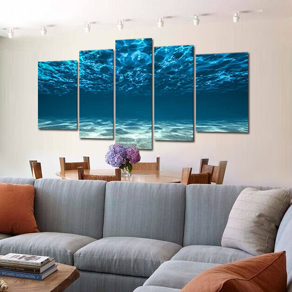 Wall Art Painting Blue Ocean Bottom View Beneath Surface  The Picture Print On 5 Panel Canvas  Pictures For Home Decor no frame