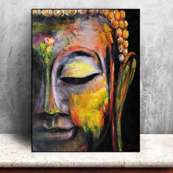 Canvas Painting Wall Art Pictures prints vivid Buddha face on canvas no frame home decor Wall poster decoration for living room