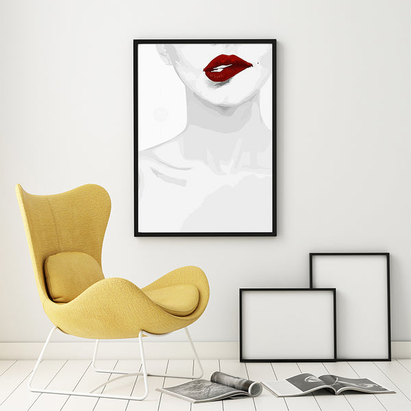 Fashion Simple Black And White Sexy Flames Lips Beauty Canvas Abstract Art Painting Print Poster Pictures Wall Home Decoration
