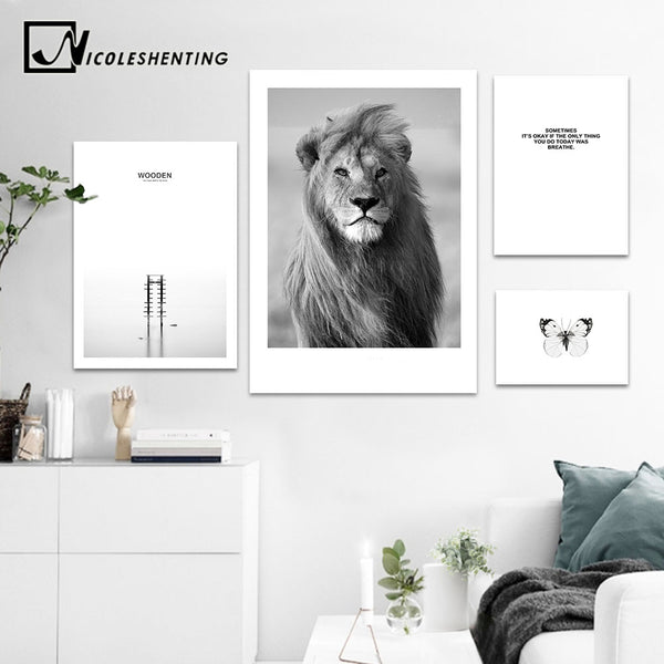 NICOLESHENTING Animal Lion Black White Canvas Poster Nordic Style Sea Forest Landscape Wall Art Print Picture for Living Room