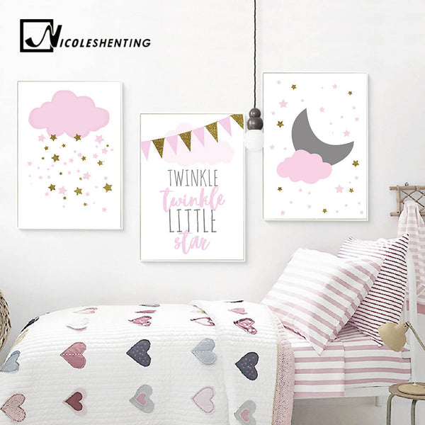 Kawaii Pink Twinkle Star Cloud Nursery Poster Nordic Wall Art Canvas Prints Painting Picture Children Room Decoration Home Decor