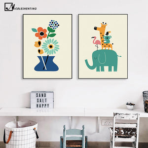 Nordic Art Cartoon Animal Poster Elephant Giraffe Tiger Minimalist Canvas Painting Nursery Picture Children Room Decoration 340