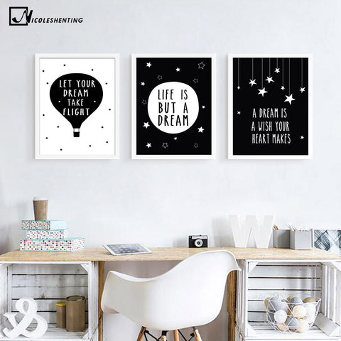 Nordic Art Motivational Star Quotes Minimalist Canvas Poster Painting Black White Wall Picture Children Baby Room Decoration