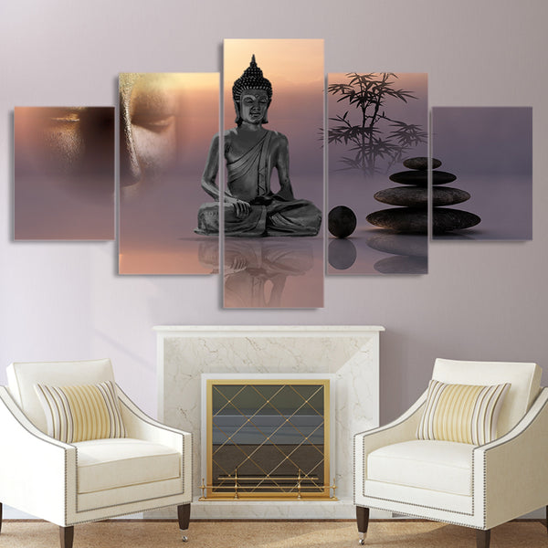 Home Decor Living Room HD Printed Modern Wall Art 5 Panel Zen Buddha Statue Stone Painting Modular Pictures Framework Canvas