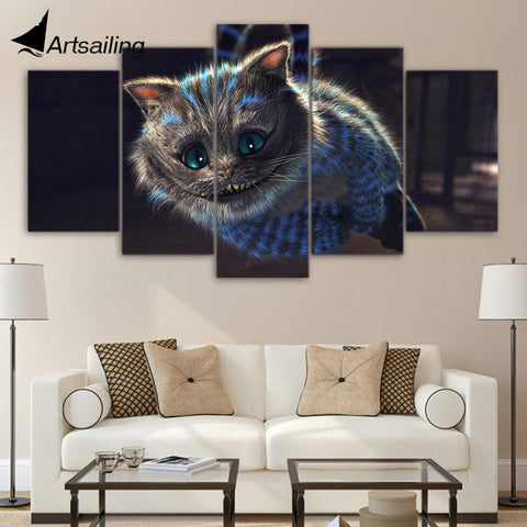 HD printed 5 piece canvas art cheshire cat painting alice's wonderland animal poster wall pictures for living room up-1475A