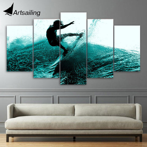 HD 5 Pieces Canvas Paintings Printed Summer Fun Surf Wall Art Canvas Modular Living Room Bedroom Home Decor ny-840