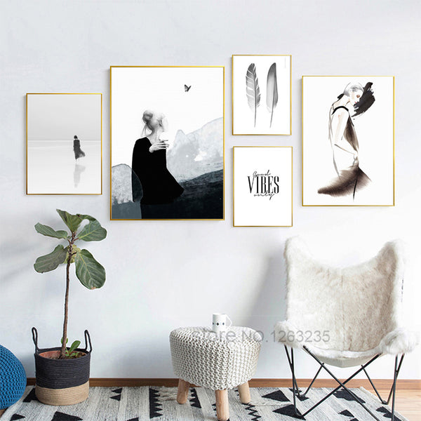 Abstract Feather Black Girl Modern Posters Nordic Poster Wall Art Canvas Painting Picture Wall Pictures For Living Room Unframed