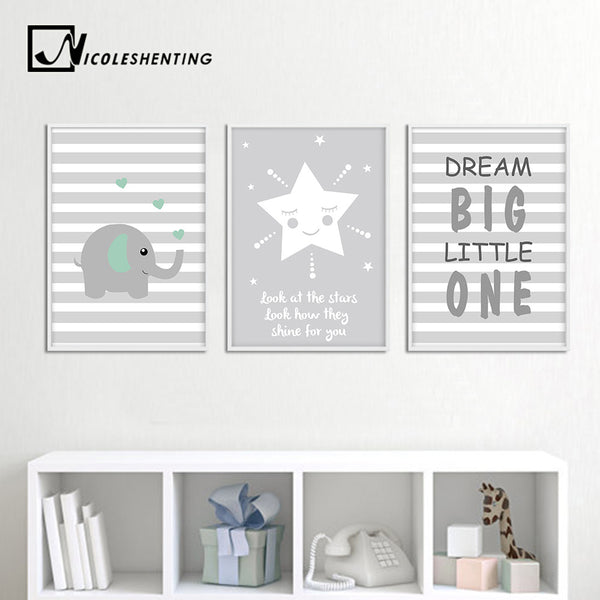 Dream Big Elephant Canvas Art Nursery Poster Cartoon Nursery Quote Print Painting Nordic Wall Pictures Kids Bedroom Decoration