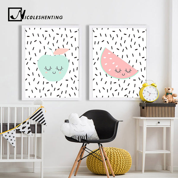 Cute Fruit Apple Banada Wall Art Canvas Posters Nursery Prints Nordic Style Painting Picture Kid Baby Bedroom Decoration