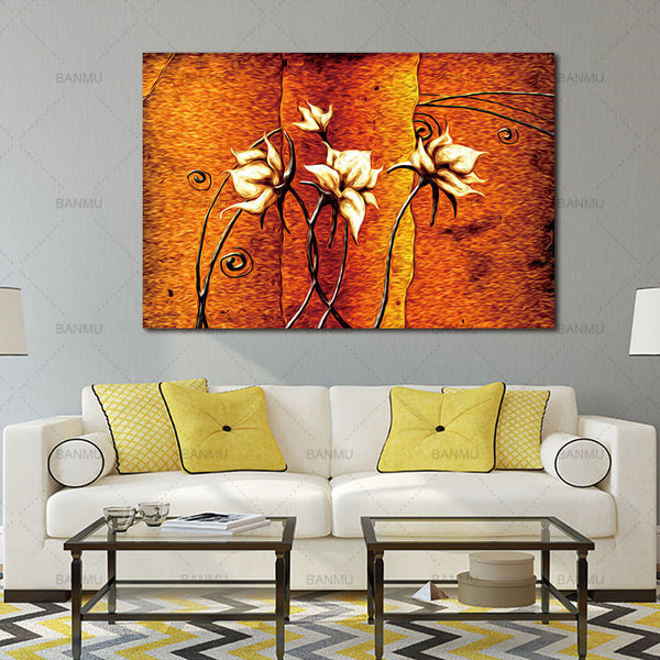 Frameless Canvas wall art Art Oil Painting Flower Painting Design Home Decor Print Wall Art Modular Picture for Living Room Wall