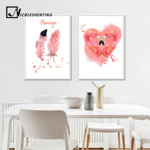 Watercolor Flamingo Feather Art Canvas Posters Motivational Prints Painting Wall Art Pictures for Living Room Home Decor