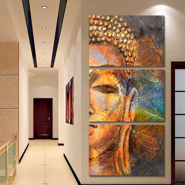 Modular Picture Canvas Painting Framework Fashion Artwork 3 Panel Golden Buddha Wall Art Poster Modern Living Room Decorative