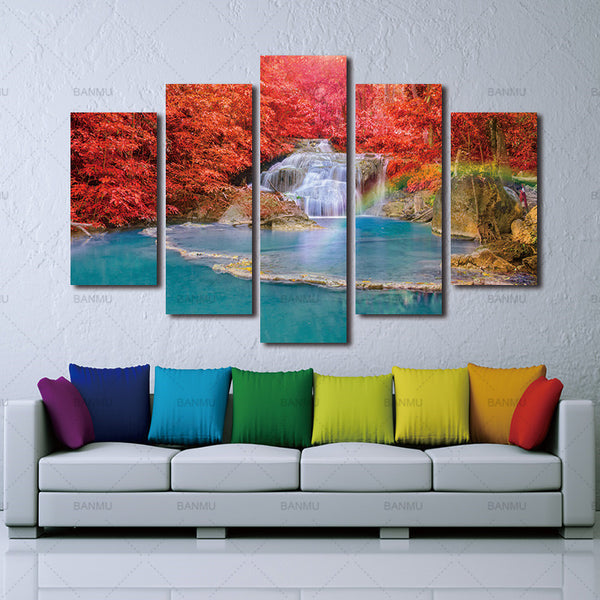 Wall Art Canvas Landscape Paintings Red Maple Leaf Forest 5 Panels Wall Decora For Decor Waterfall Artwork Giclee Wall Picture