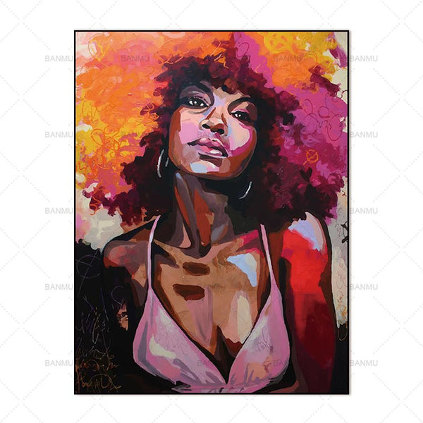 Canvas Painting Wall Art Pictures prints colorful woman on canvas no frame home decor  Wall poster decoration for living room