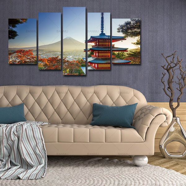 Canvas Painting Wall Art Chureito Pagoda 5 Pieces Modern In Autumn Fujiyoshida Japan Landscape Mountain Print On Canvas no frame