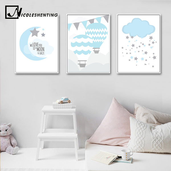 NICOLESHENTING Birth Stats Custom Posters Cartoon Nursery Canvas Art Prints Painting Wall Picture Nordic Kids Bedroom Decoration