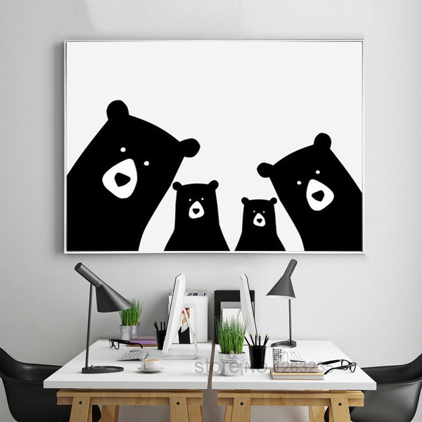 Nordic Style Kids Decoration Nordic Poster Bear Kids Room Animal Wall Art Canvas Painting Wall Pictures For Living Room Unframed