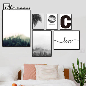 NICOLESHENTING Forest Leaf Landscape Wall Art canvas Posters Prints Nordic Style Painting Wall Picture for Home Room Decoration
