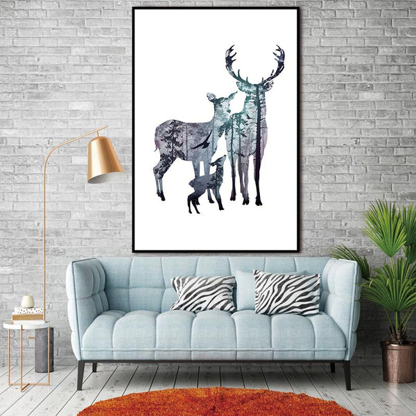 Canvas Art Painting Picture, Silhouette of Deer Family with Pine Forest Wall Picture for Home Decoration, Home Decor no frame