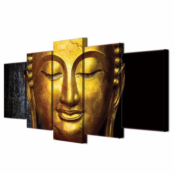 Wall Art Modular Poster Frame HD Printed Modern 5 Panel Gold Buddha Landscape Painting Canvas Living Room Pictures Home Decor