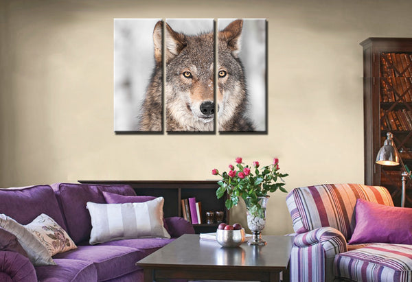 Creative Art Picture Painting Animal Wolf Head Print Canvas Cool Artwork Decor for Home Wall Art Customized and Wholesale 3pcs