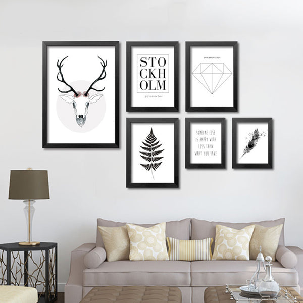 Wall Art Canvas Painting Picture Wall Pictures For Living Room Posters And Prints Cuadros Elk Forest Nordic Poster Unframed