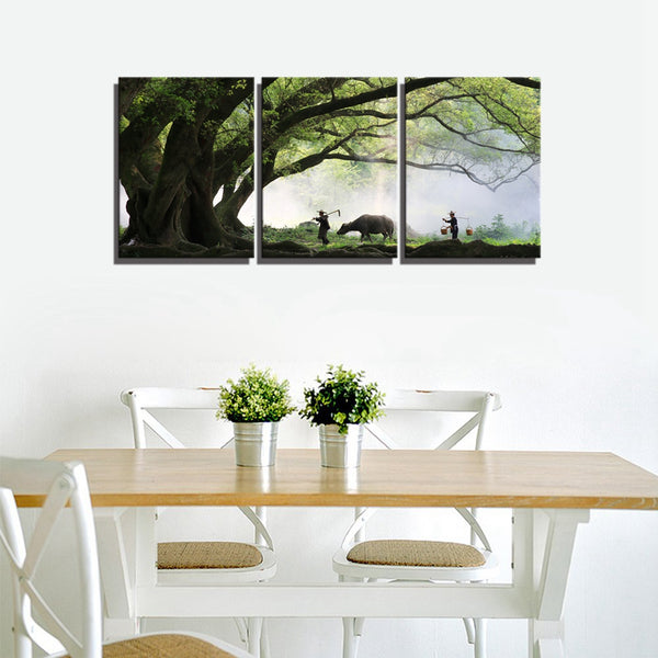 Vintage Home Decorations Chinese Landscape Picture Modular Poster Print Canvas Painting for Living Room Wall Decor Gift 3 Panels