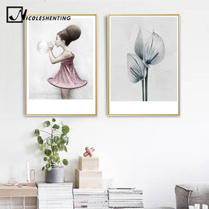 Fashion Girl Flower Wall Art Canvas Poster Print Motivational Quote Nordic Decoration Abstract Realism Picture for Living Room