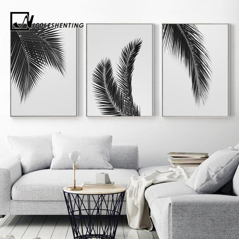 Black White Plant Palm Tree Leaves Posters Prints Minimalist Wall Art Canvas Painting Nordic Style Wall Picture for Living Room