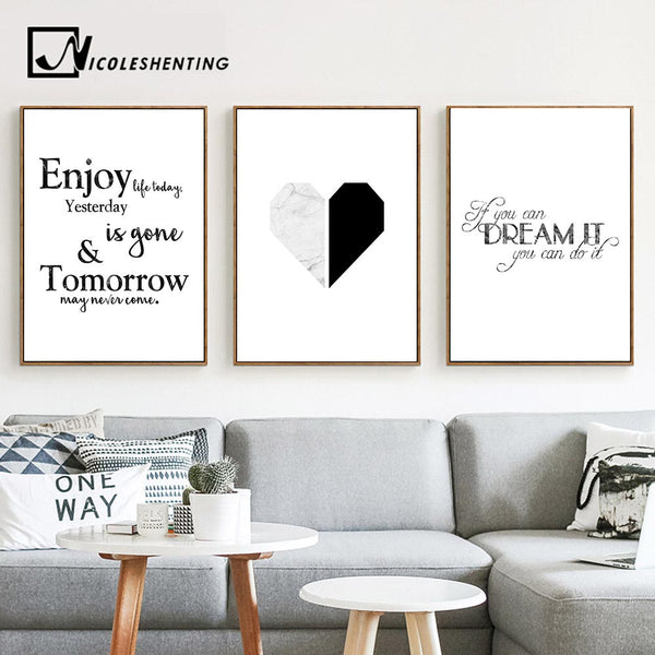 Marble Heart Fashion Poster Motivational Quote Wall Art Canvas Print Painting Nordic Style Simple Wall Picture Modern Home Decor