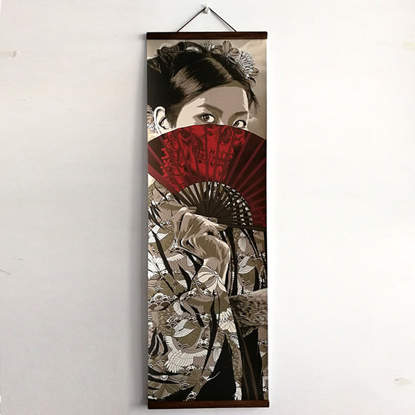 Japanese Ukiyoe for HD canvas poster wall pictures for living room decoration painting wall art with solid wood hanging scroll