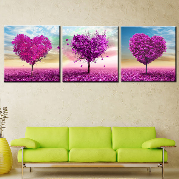 Wall Art Prints Home Decoration Modular 3 Panel Purple Love Fashion Canvas Oil Painting Pictures For Living Room Framed