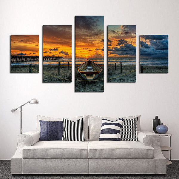 Modular Vintage Art Canvas Wall 5 Panel Seascape And Boat Home Decor Print Painting Tableau Picture For Living Room Poster