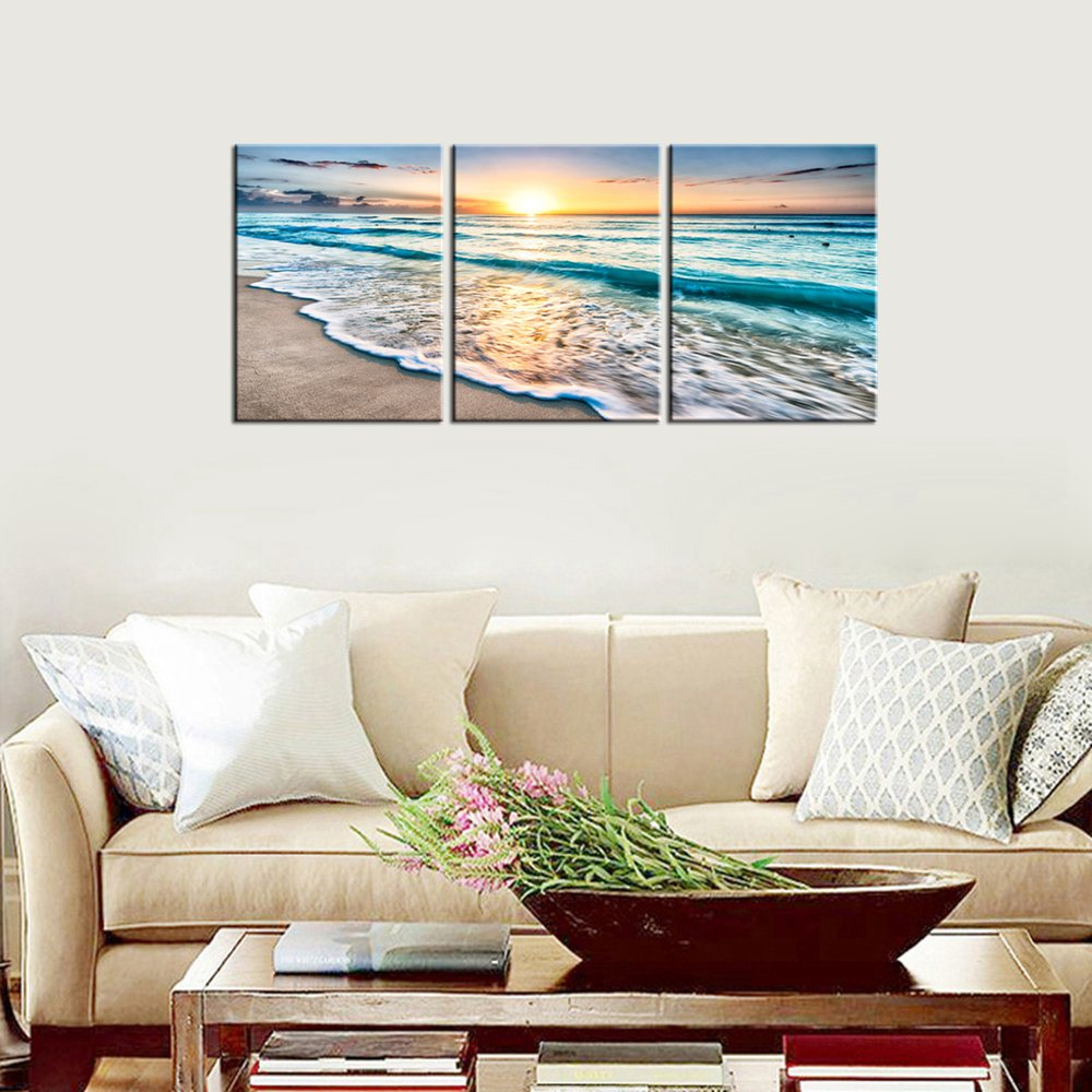 Blue Sea Sunset White Beach Painting The Picture Print On Canvas Seascape the Pictures Wall Art For Home Decoration Drop shipp