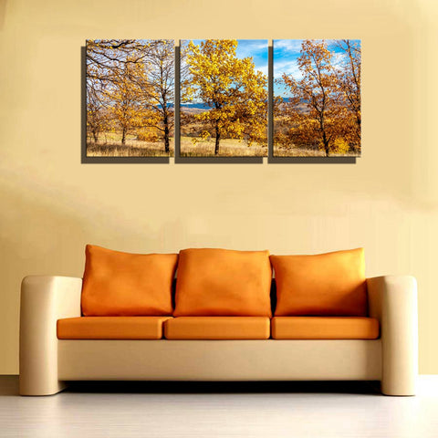 Autumn Landscape Yellow Trees Flowers Home Decorations Wall Art Canvas Painting for Living Room Wall Decor Artwork Drop Shipping