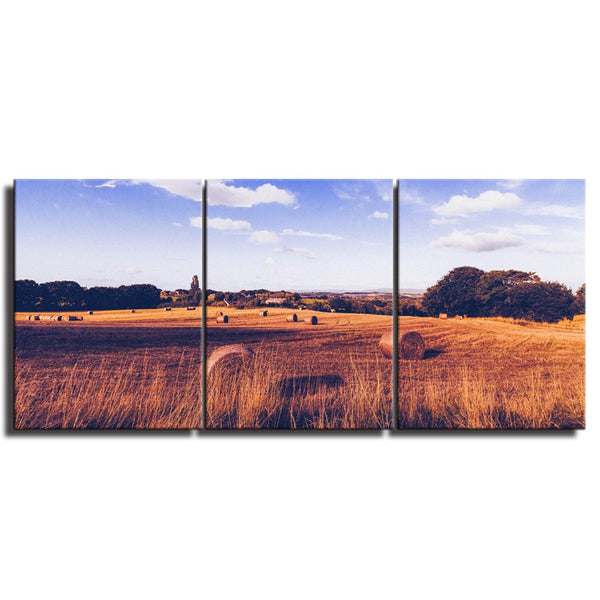 The Season Of Autumn Harvest Wheat Hay Bales On The Field After Harvest Canvas Wall Art Landscape Wall Decor for Home Decoration