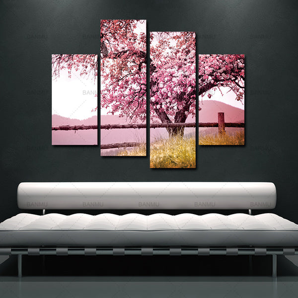 Unframed 4 Sets Red Plum Blossom Flowers Wall Pictures For Living Room Large HD Wall Art Canvas Modular Pictures Oil Painting