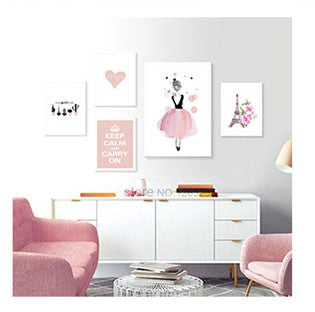 Baby Room Cute Dolphin Cartoon Cuadros Nordic Style Kids Decoration Picture Nursery Wall Art Canvas Painting Pink Girl Unframed