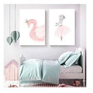 Swan Cuadros Nordic Style Kids Decoration Infantil Wall Art Canvas Painting Nordic Poster Wall Pictures For Living Room Unframed