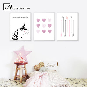 NICOLESHENTING Unicorn Heart Art Canvas Prints Personalized Name Custom Poster Nursery Painting Picture Kids Bedroom Decoration
