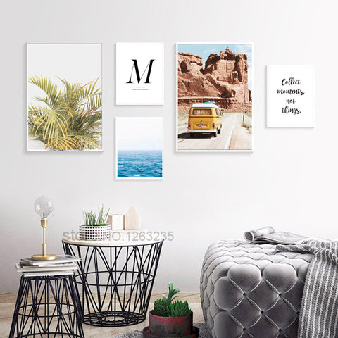 Cuadros Decoracion Home Wall Pictures For Living Room Seawater Nordic Poster Yellow Leaf Bus Wall Art Canvas Painting Unframed