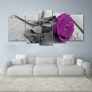 5pcs Print Canvas painting Wall Art Beautiful Roses Cuadros Decoration Oil Painting Modular Pictures On the Hall Wall No Frame
